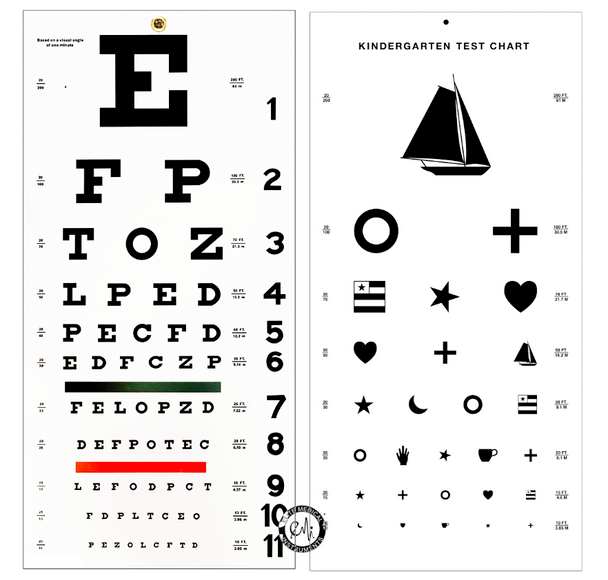 2 PACK - Snellen AND Kindergarten / Children Plastic Eye Vision Exam Test Wall Charts 22 by 11 in.