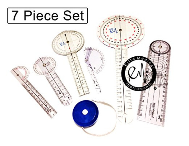 EMI 6 Piece Goniometer Set Plus Measuring Tape - 7 Pieces Total EGM-431
