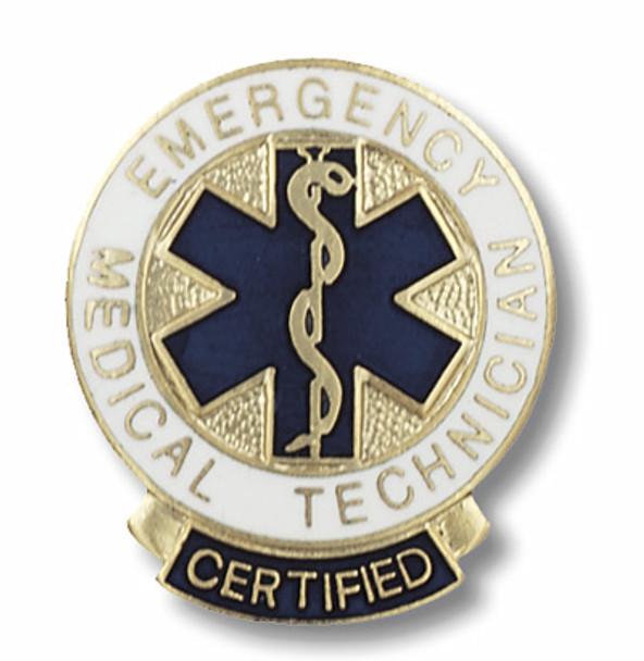 EMT Emergency Medical Technician Round Certified Emblem Pin