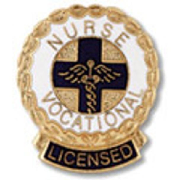 Licensed Vocational Nurse LVN Wreath Edge Round Emblem Pin