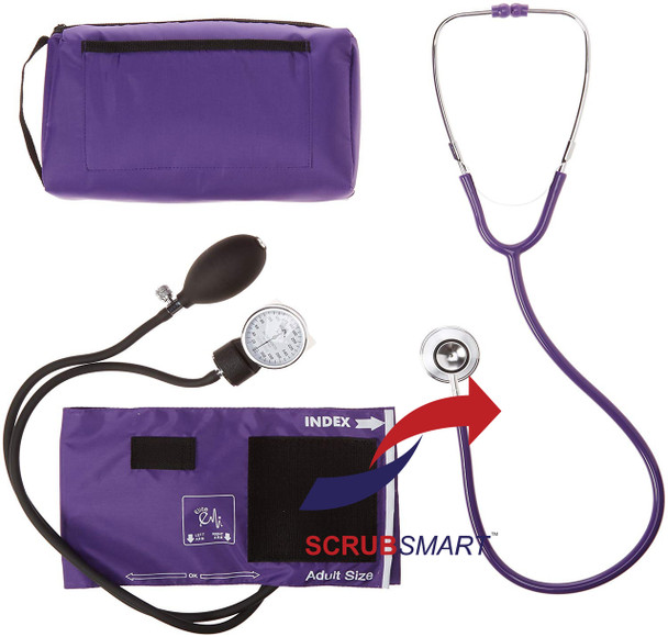 EMI Blood Pressure Aneroid Sphygmomanometer and Dual Head Stethoscope Combination Kit # 305 - Select Color