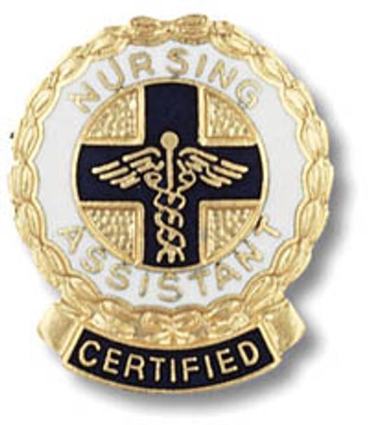 Certified Nursing Assistant Emblem Round Pin - Wreath edge