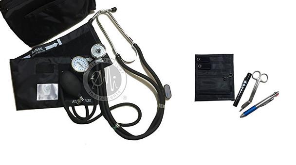 EMI 330-NK - BLACK Sprague Rappaport Stethoscope and Aneroid Sphygmomanometer Blood Pressure Set and Pocket Organizer 6 piece Nurse Nursing Essentials Kit