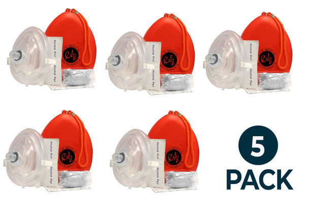 5 Pack - 5 EMI CPR Rescue Mask Pocket Resuscitator , Gloves, Wipe, & ORANGEHard Case with Wrist Strap