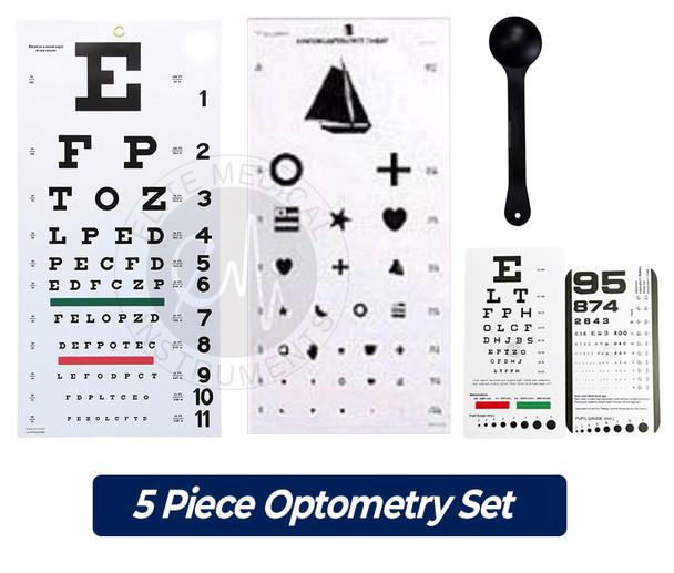 image regarding Pediatric Eye Chart Printable identified as EMI 5 Piece Optometry Preset - Snellen Wall Eye Chart, Kindergarten Wall Eye Chart, Snellen Pocket Eye Chart, Rosenbaum Pocket Eye Chart, Occluder