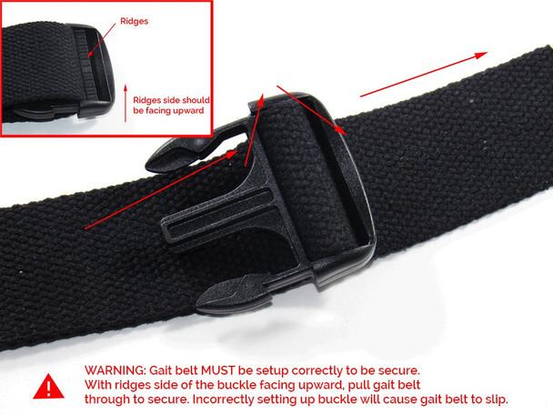Instructions for applying gait belt.