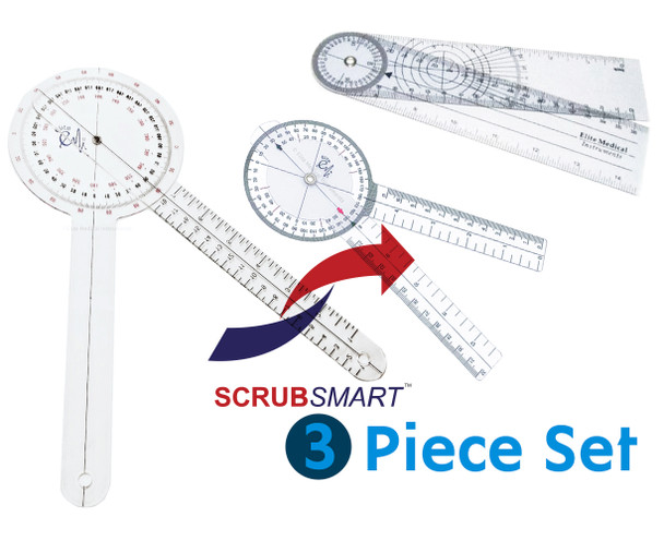 """EMI 3 Piece Goniometer Set 12"""", 8"""", and 8"""" Spinal"""