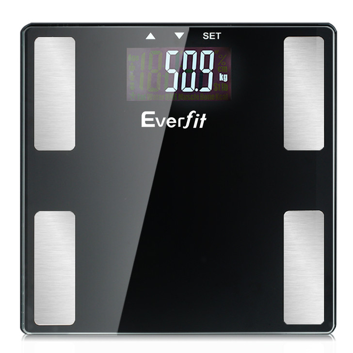 Everfit Electronic Digital Body Fat Scale Bathroom Weight Scale-Black