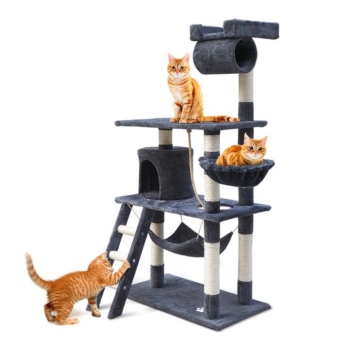141cm Medium Cat Scratching Post Pet Tree Tower House Condo Blue