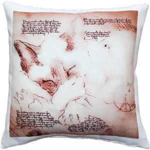 Dreaming Cat Throw Pillow 17x17