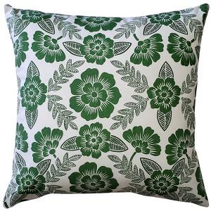 Avens Green Floral Throw Pillow 17x17