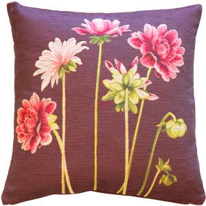Pink Dahlias Square Tapestry Throw Pillow
