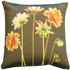 Yellow Dahlias Square Tapestry Throw Pillow