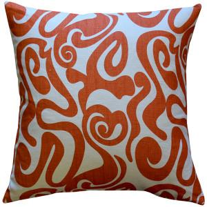 Tuscany Linen Swirl Orange Throw Pillow 20x20