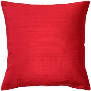 Sankara Red Silk Throw Pillow 18x18