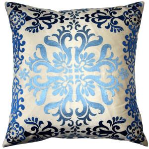 Sumatra Fountain Embroidered Silk Pillow 21x21