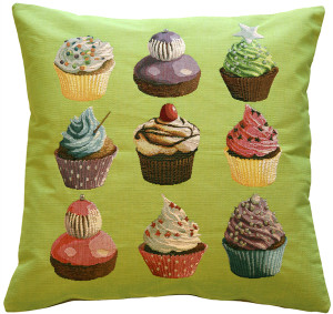 Cupcakes on Green French Tapestry Throw Pillow
