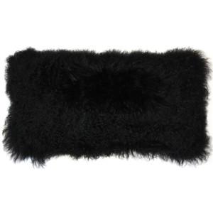 Mongolian Sheepskin Black Rectangular Pillow