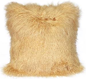 Mongolian Sheepskin Champagne Throw Pillow