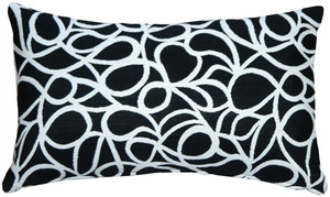 Outdura Black Candid Licorice 12x20 Outdoor Throw Pillow