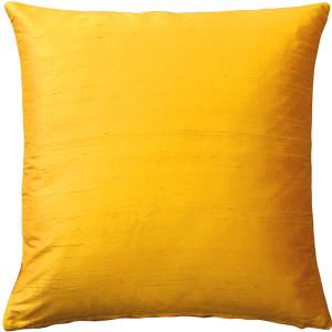 Sankara Deep Yellow Silk Throw Pillow 18x18