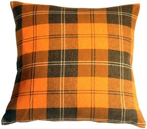 Contemporary Plaid Orange 20x20 Throw Pillow
