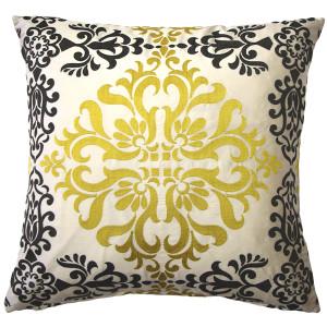 Sumatra Medallion Embroidered Silk Pillow 21x21