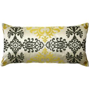Sumatra Medallion Embroidered Silk Pillow 12x24