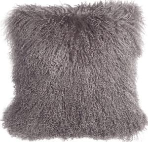 Mongolian Sheepskin Gray Throw Pillow