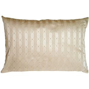 Manhattan Stripes in Beige Rectangular Throw Pillow