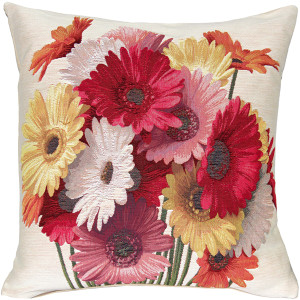 Gerbera Floral French Tapestry Throw Pillow 19x19