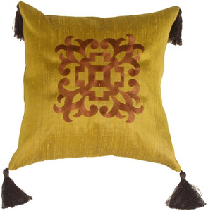 Ming Collection Golden Olive Square Throw Pillow