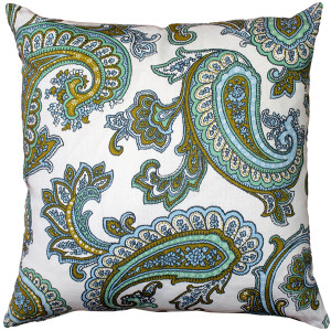 Tuscany Linen Forest Paisley Throw Pillow 22x22