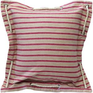 Nautical Stripes Pink Cotton Throw Pillow 16x16