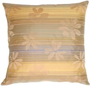 Beige Floral on Stripes Square Decorative Pillow