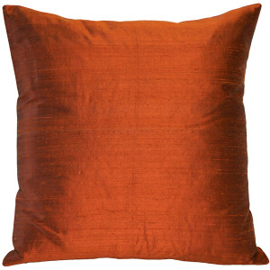 Sankara Burnt Orange Silk Throw Pillow 16x16