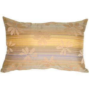 Beige Floral on Stripes Rectangular Decorative Pillow