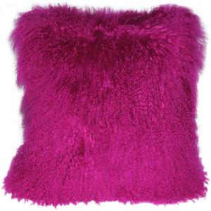 Mongolian Sheepskin Hot Magenta Pink Throw Pillow