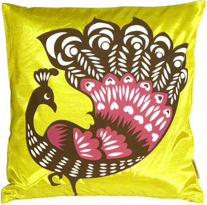 Proud Peacock Chartreuse Green Throw Pillow
