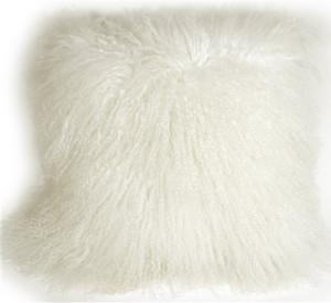 Mongolian Sheepskin Snow White Throw Pillow