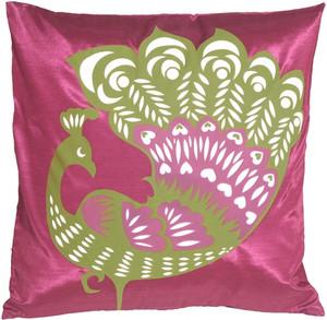 Proud Peacock Fuchsia Throw Pillow