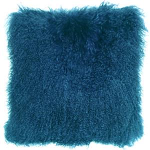 Mongolian Sheepskin Teal Throw Pillow
