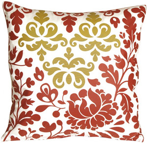 Bohemian Damask Red, White and Ocher Throw Pillow