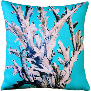 Ocean Reef Coral on Turquoise Throw Pillow 20x20