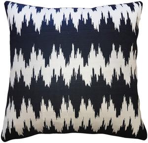 Ikat Stripes Black and Cream Throw Pillow 17x17