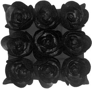 Felt Flowers in Black 17x17 Throw Pillow
