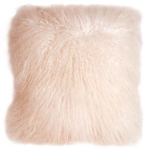 Mongolian Sheepskin Pastel Pink Throw Pillow