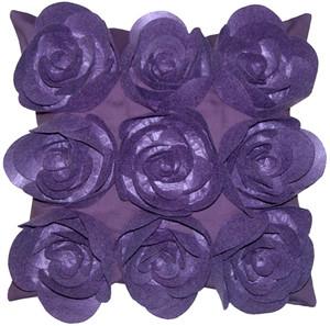 Felt Flowers in Purple 17x17 Throw Pillow