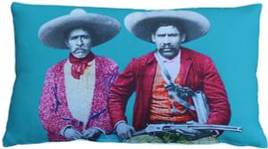 Dos Banditos Throw Pillow 12x19