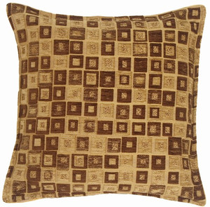 Chocolate and Tan Chenille Blocks Throw Pillow